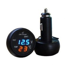 3 in 1 Auto Digital LED Thermometer Voltage Detection Table USB Car Charger Cigarette Voltmeter Meter 12V
