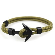 2019 New Fashion Black Color Anchor Bracelets Men Charm Survival Rope Chain Paracord Bracelet Male Wrap Metal Sport Hooks