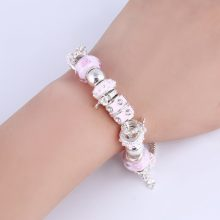 Pink Crystal Charm Silver Bracelets & Bangles for Women With Aliexpress Murano Beads Silver Bracelet Femme Jewelry