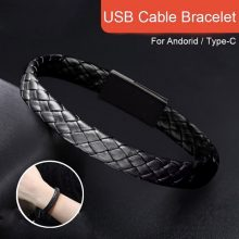 Mobile Phone Data Cable Braided Bracelets & Bangles For Men Women Punk Usb Charging Cable Leather Bracelet Jewelry