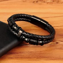 Genuine Leather Bracelet Double Layer 19/21/23CM Gold/Silver Color Special Jewelry For Men Father's Day Gift Big Discount