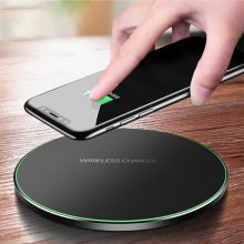 Metal 10W Wireless Charger For iPhone 8 X XR XS Max QC3.0 Fast Wireless Charging for Samsung S10 S9 Note 8 9 USB Charger Pad