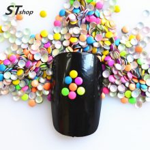 1000pcs 2mm Mix Colors Neon Round Studs Metal Nail Art Decoration Metallic For DIY 3D Acrylic Beauty Accessories NC220