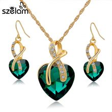 Gold Plated Jewelry Sets For Women Crystal Heart Necklace Earrings Jewellery Set Bridal Wedding Accessories