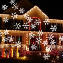 Waterproof Moving Snow Laser Projector Lamps Snowflake LED Stage Light For Christmas New year Party Light Garden Lamp