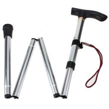 Outdoor Hiking Tools Stick Aluminum Alloy Metal Folding Cane Walking Sticks Non Slip Rubber Base Stick Free shipping!