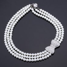 Lovely Bowknot Necklace Women Fashion Jewelry Sale New Trendy Platinum Plated Rhinestone Multilayers Withe Pearl Necklaces