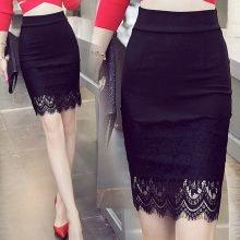 S-5XL Plus Size Black Pencil Skirt Lace Bodycon Skirts Womens Spring Summer Tight Sexy Mini Skirt