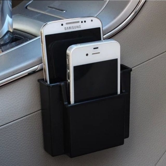 Multifunctional  Car Cell Phone Holder  Black  Mobile Phone Charge Box Holder Pocket Organizer  Car Seat Bag Storage
