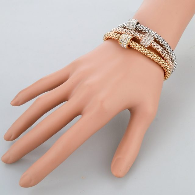 2016 Fashion Jewelry Bracelets & Bangles Real 18K Gold Silver Rose Gold Plated Bracelet Metal Chain Women Bracelets