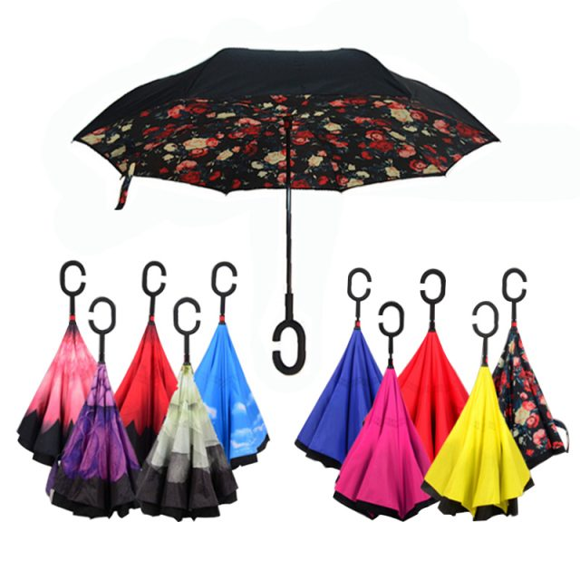 1PCS Creative Cars Reverse Folding Umbrella Double Layer Rain Protection C-Handle Inverted Windproof Compact Self-Standing