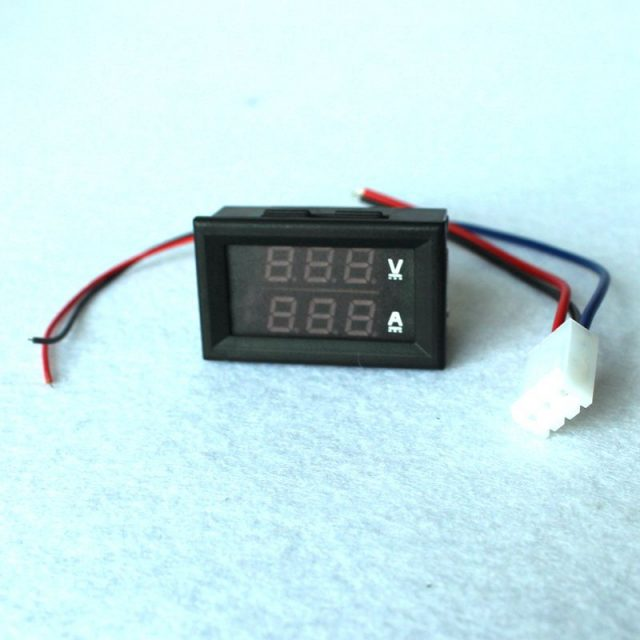 DC 0-100V 10A Digital Voltmeter Ammeter Dual Display Voltage Detector Current Meter Panel Amp Volt Gauge 0.28″ Red Blue LED