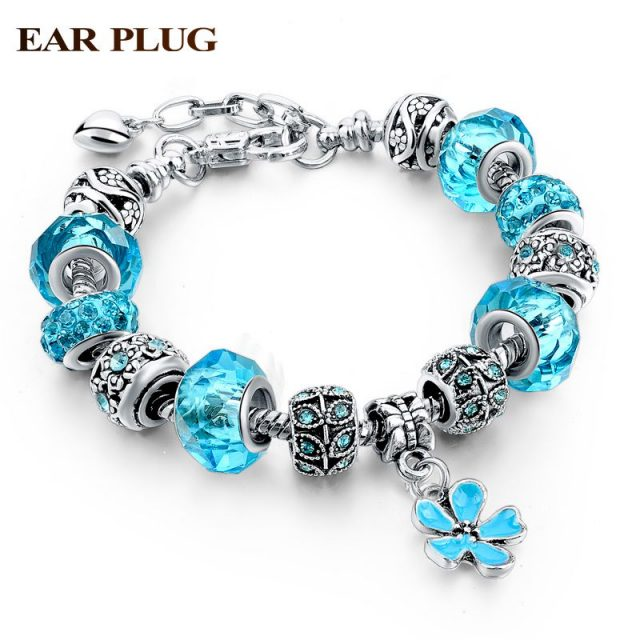 Blue Crystal Murano Beads Bracelets & Bangles Vintage Link Charm Bracelets For Women DIY Love Sapphire-Jewelry