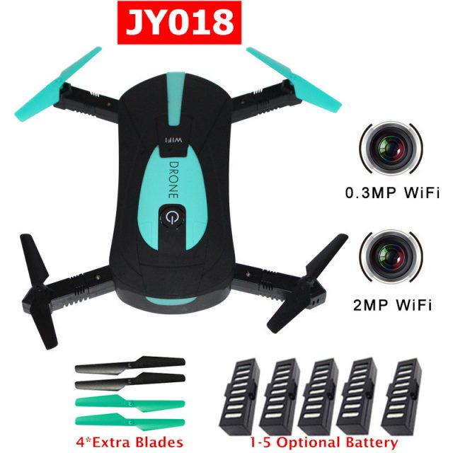 JY018 Mini RC Selfie Drone FPV Quadcopter with 0.3MP / 2MP Wifi Camera Foldable Drones Pocket Dron RC Helicopter